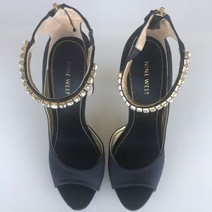 Nine West Satin Black Heels